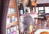 lodge, books, fireplace