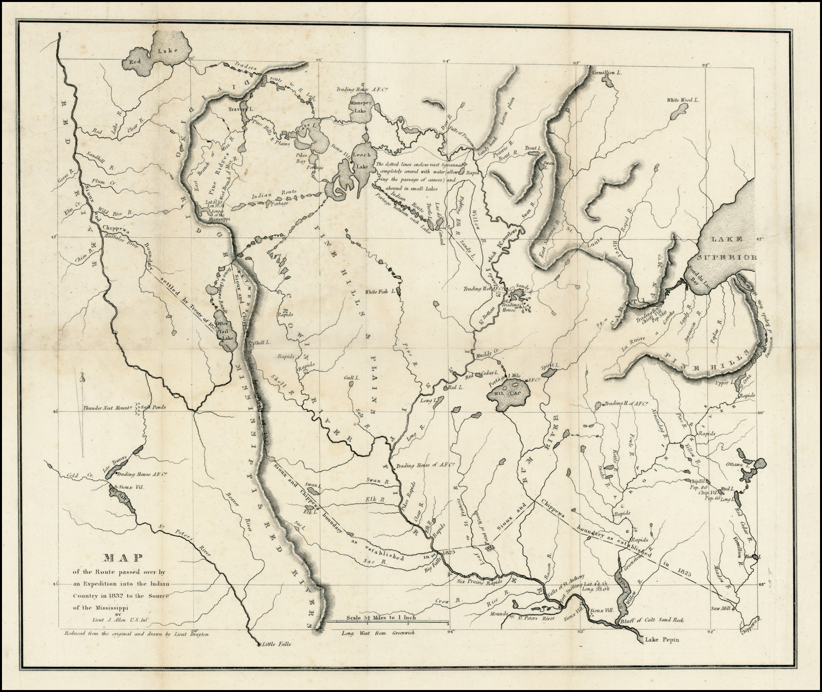 1832 Henry Schoolcraft map of lakes/rivers origin of Mississippi River