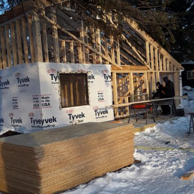 constructing cabin #4 at crow wing crest lodge